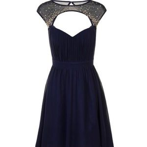 Little Mistress Navy Embellished Cap-Sleeve Dress